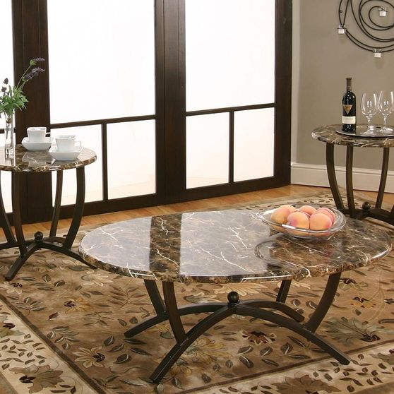 3-pack faux marble occassional tables set
