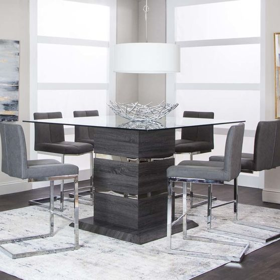 Square thick glass top / bar height dining set