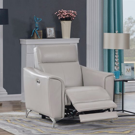 Power recliner chair in gray leather / pvc