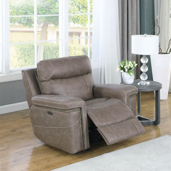 Power2 glider recliner in taupe suede fabric