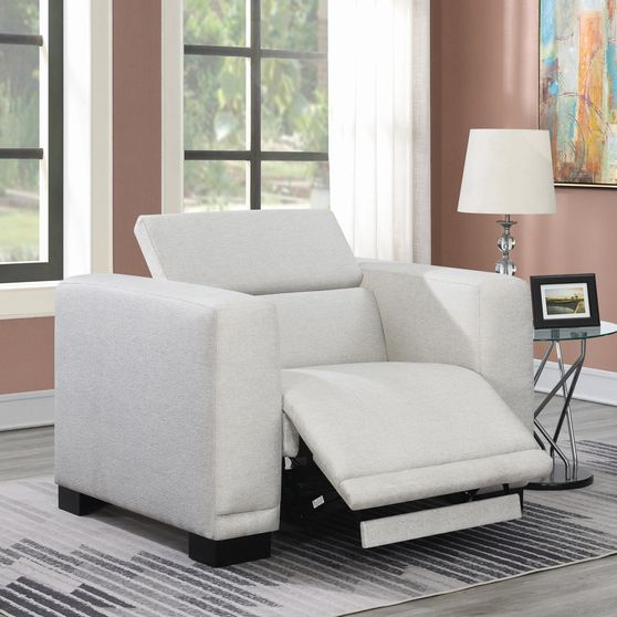 Power2 recliner in beige chenille fabric
