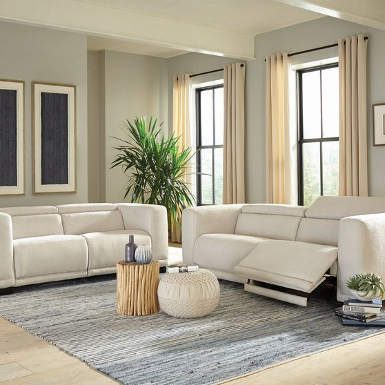 Power2 sofa in beige performance chenille fabric