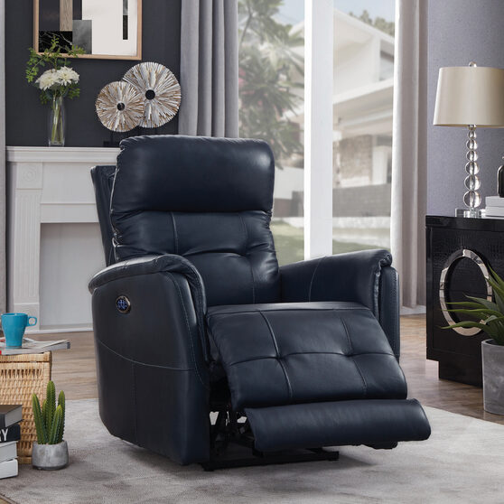 Power3 recliner upholstered in blue top grain leather
