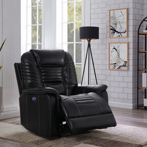 Power3 recliner upholstered in black top grain leather