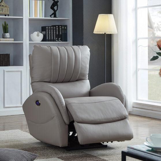 Power3 recliner upholstered in light gray top grain leather