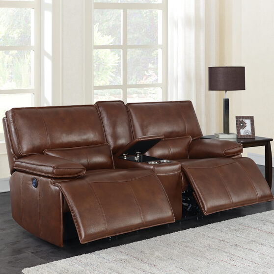 Power loveseat upholstered in saddle brown top grain leather