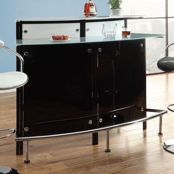 Black Bar Table with Frosted Glass Counter Tops
