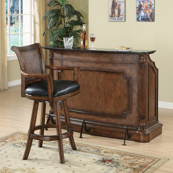 Traditional ornate brown bar unit w/ marble top