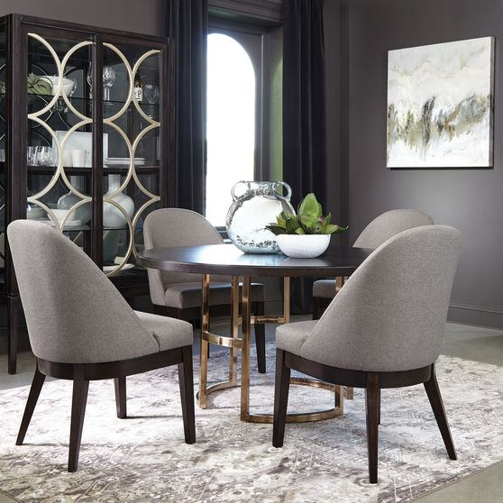 Round dining table in dark brown / rose brass