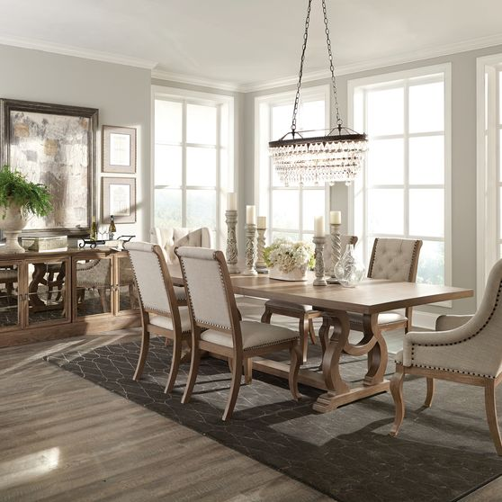 Family size extension dining table in barley brown