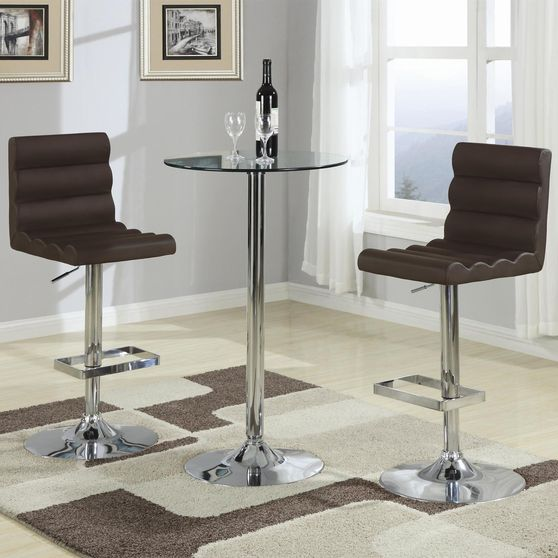 Small glass bar table + 2 brown stools set