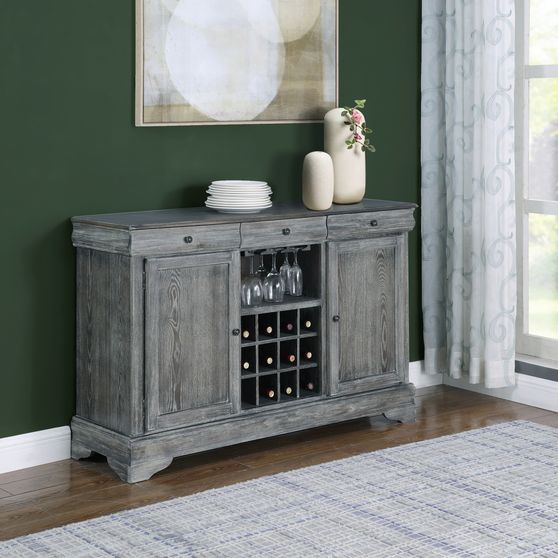 Gray weathered wood finish dining room server
