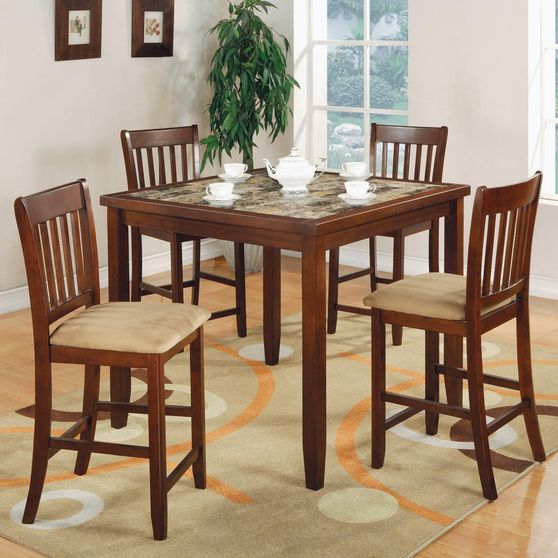 Cherry finish simple 5pcs counter dining set