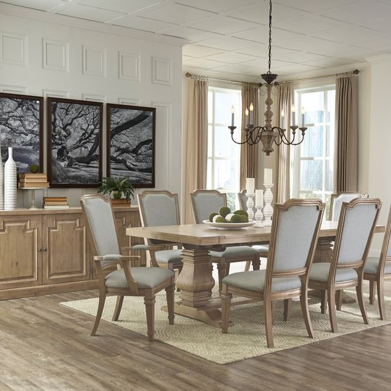Rectangular solid wood double pedestal dining table