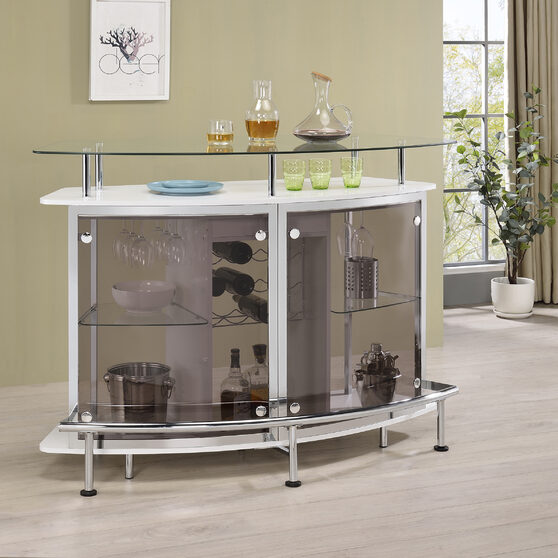 Contemporary crescent shaped front bar unit in white high gloss lacquer finish