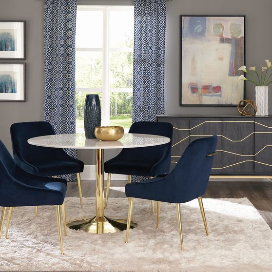Round natural marble / gold base dining table