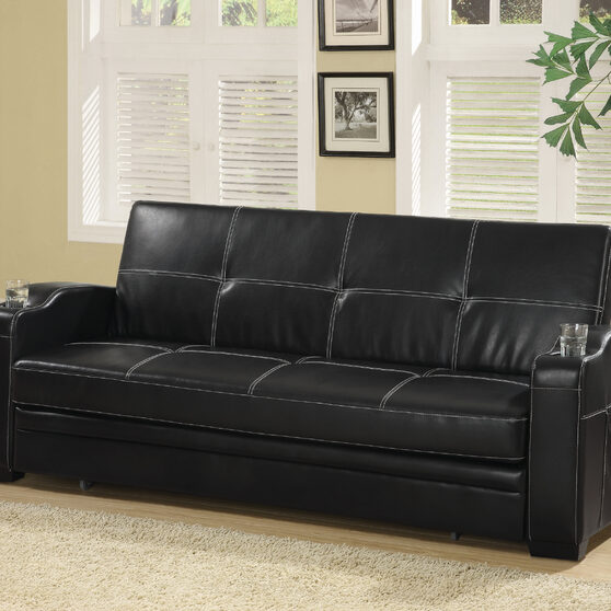 Contemporary sofa bed upholstered in black leatherette