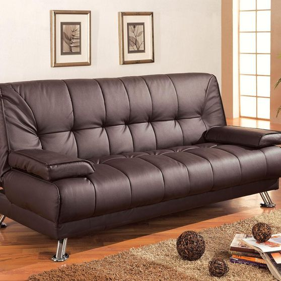 Adjustable brown leatherette sofa bed
