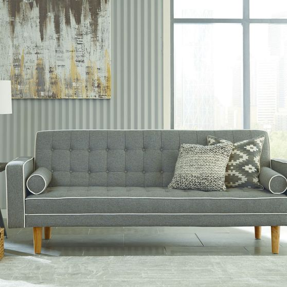Gray woven fabric sofa bed