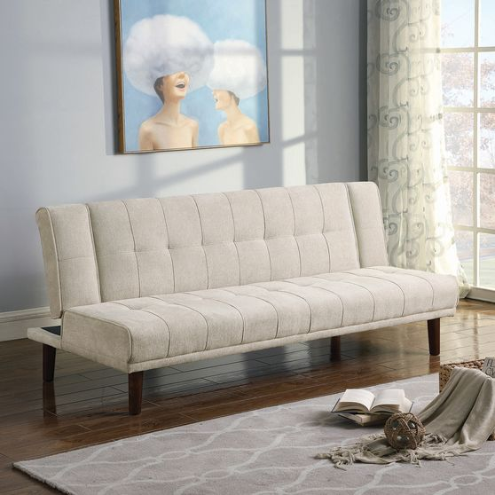 Sofa bed upholstered in beige performance-grade chenille