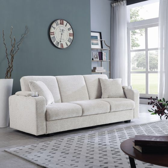 Sofa bed in off white chenille fabric