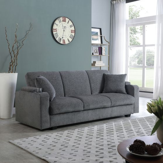 Sofa bed in charcoal chenille fabric