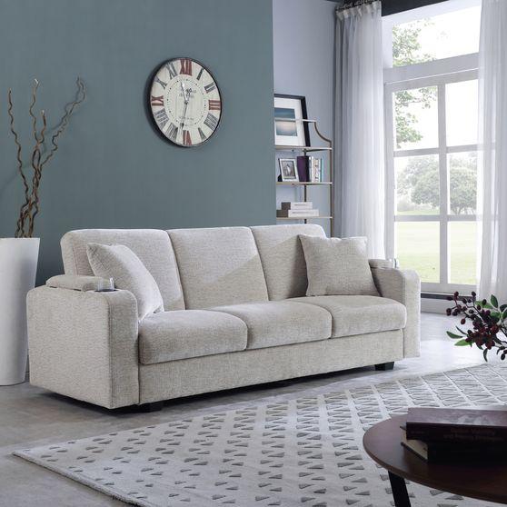 Sofa bed in tan beige chenille fabric