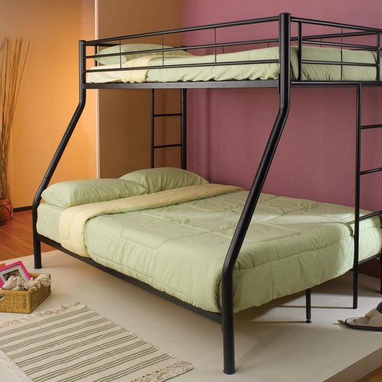 Twin/full contemporary black metal bunk bed