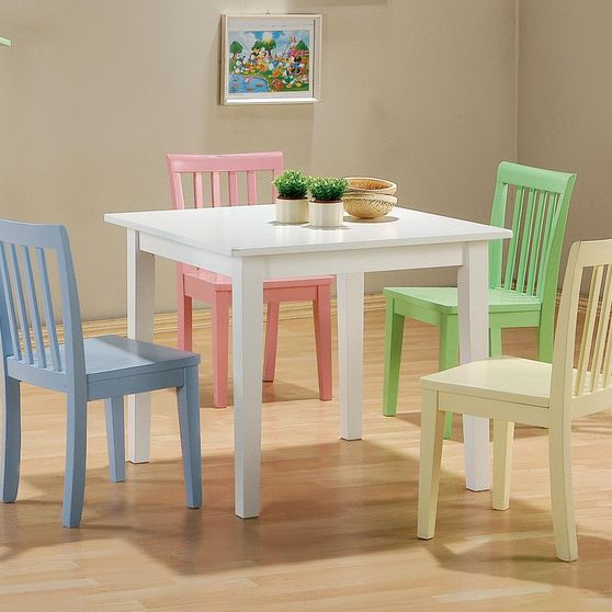 Kids white table + 4 multicolor chairs