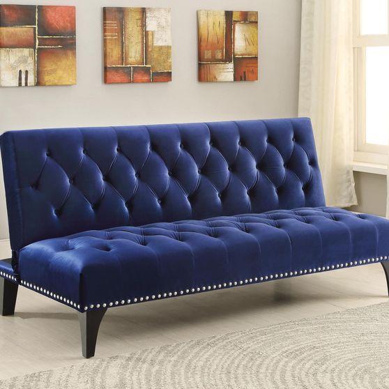 Blue velvet upholstery tufted sofa bed