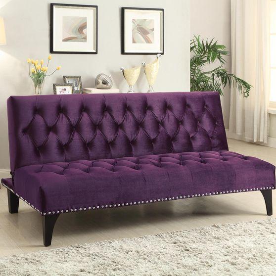Purple velvet upholstery tufted sofa bed