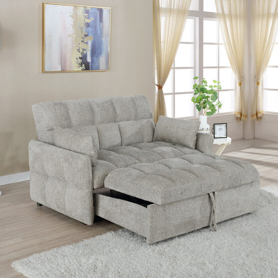 Sleeper sofa bed upholstered in durable chenille