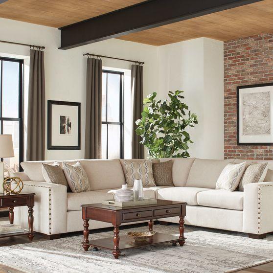Chenille oatmeal fabric sectional sofa