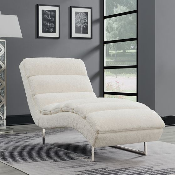 Faux sheepskin texture upholstered chaise