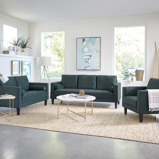 Modern silhouette in dark teal velvet upholstery sofa