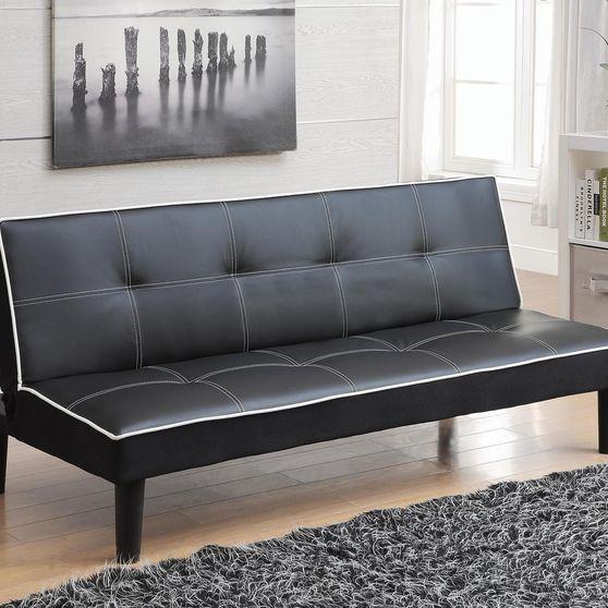 Black leatherette sofa bed