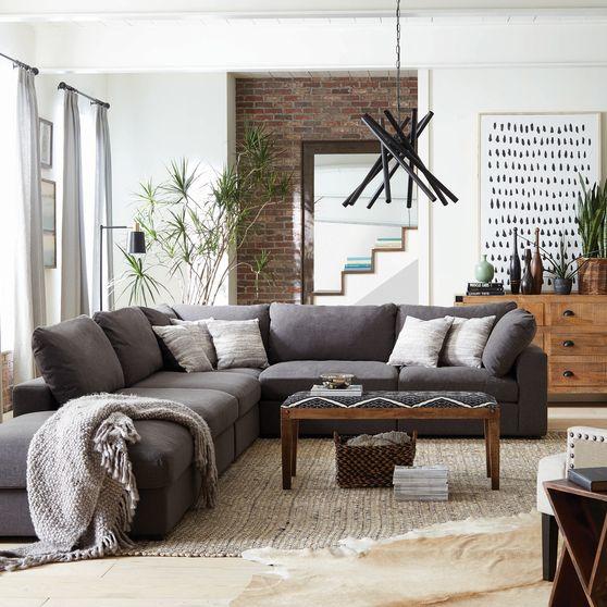 Linen blend fabric gray contemporary modular sectional