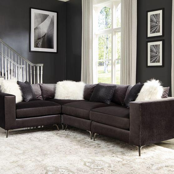 Dark charcoal velvet modular 4pcs sectional sofa