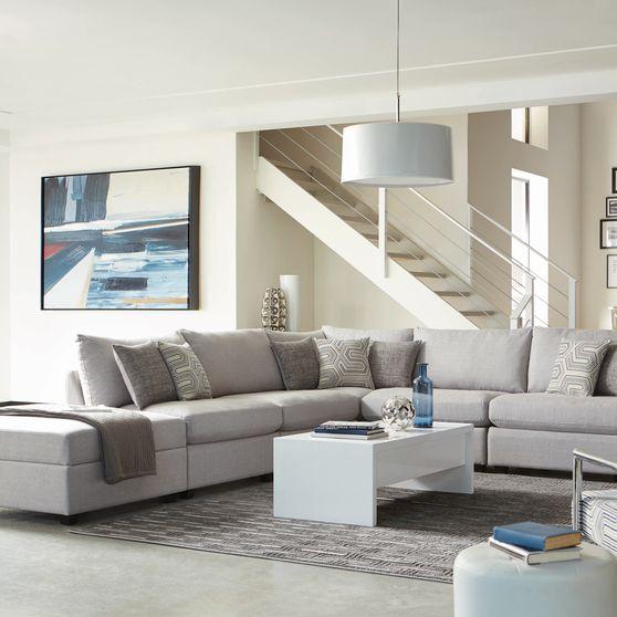 Gray linen fabric contemporary modular sectional