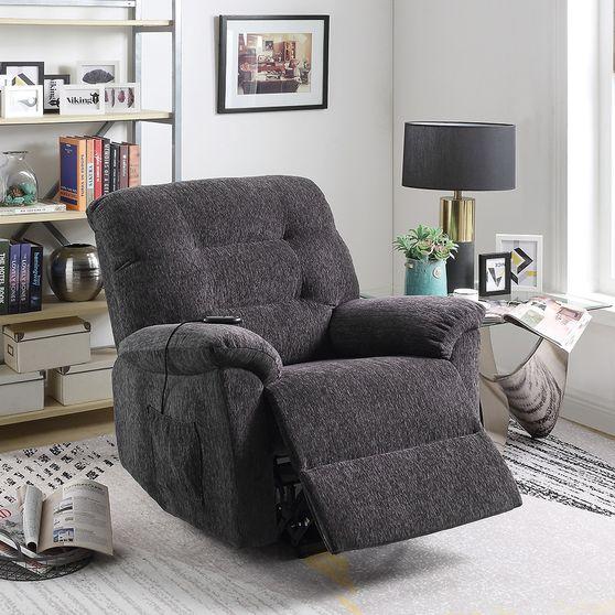 Power lift recliner w/ remote in dark gray chenille