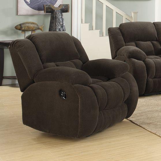 Brown casual style fabric glider recliner