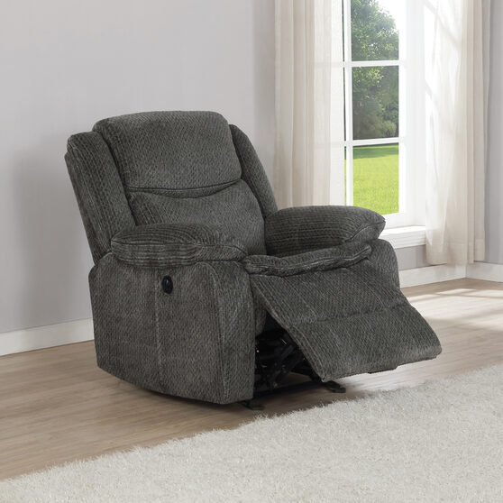 Glider recliner upholstered in charcoal performance-grade chenille