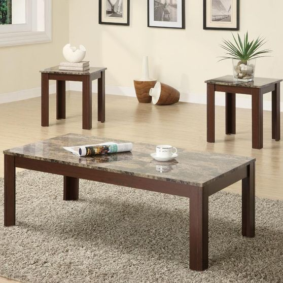 3pcs faux marble coffee table set