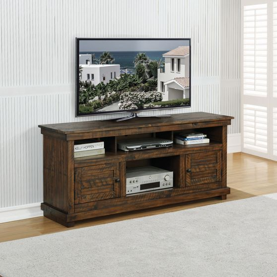 Antique brown rustic finish tv stand