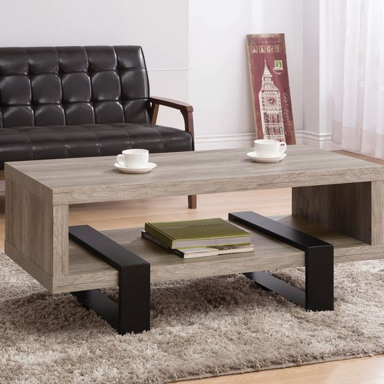 Gray driftwood / black coffee table