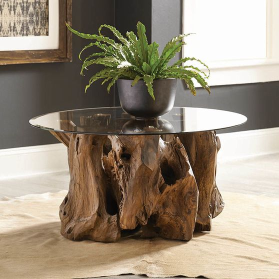 Rustic teak root / glass top coffee table