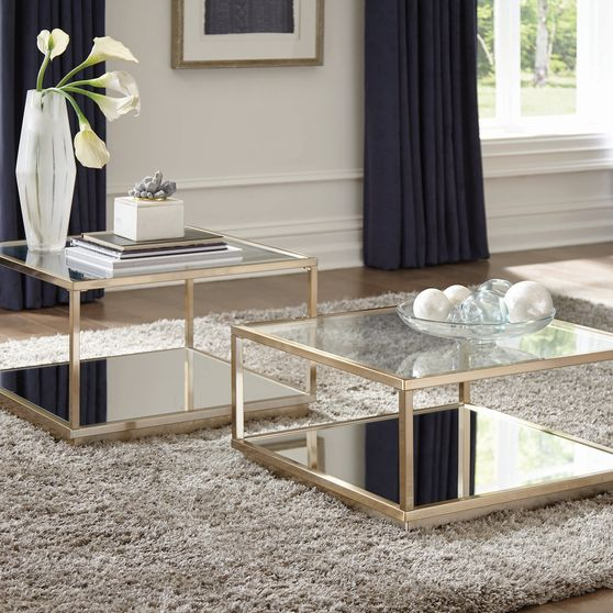 2 pc rose brass coffee table + end table set