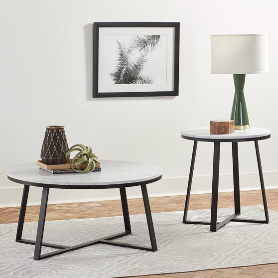 Eye-catching faux marble tops with matte black metal base coffee table