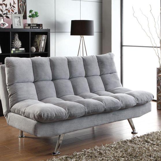 Gray padded sofa bed w/ chrome legs