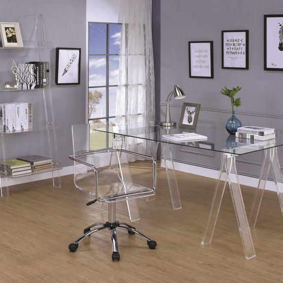 Amaturo clear acrylic sawhorse writing desk